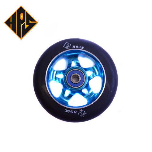 2X PRO STUNT SCOOTER AQUA BLUE NINJA 5 METAL CORE WHEELS 100mm ABEC 9 BEARING 11