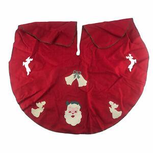 Vintage Christmas Tree Skirt MCM Ornaments Mid Century Modern Red Felt Santa