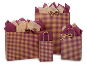 BURGUNDY-GINGHAM-Design-Print-Party-Gift-Bag-Only-Choose-Size-amp-Package-Amount