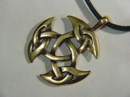 BUTW REAL BRONZE Triscele Triad Trinity Knot Celtic Norse Viking Pendant 0473C