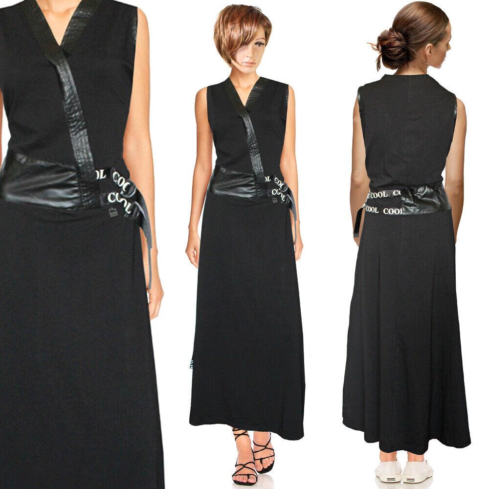 STRETCH Cool Jersey Kleid Maxikleid Tailliert Schlankmacher Bodenlang Gr.40 42
