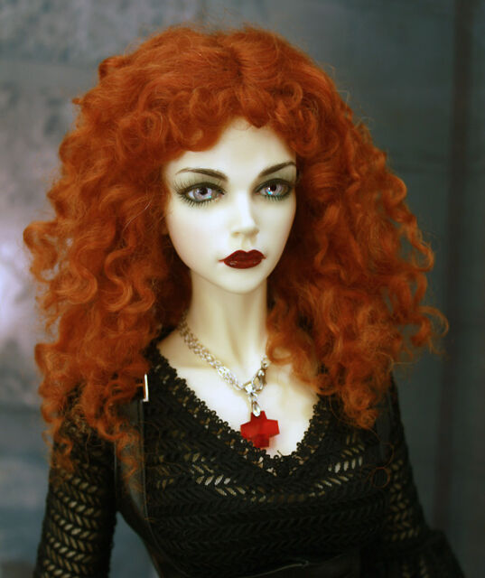 "1/3 1/4 bjd 7-8"" doll head carrot red real mohair curly wig dollfie #W-D28002M"