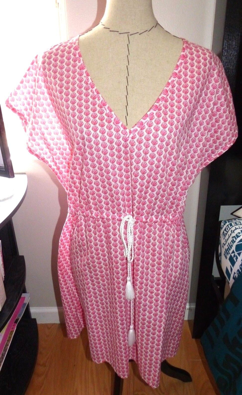 VINEYARD VINES Women's Shell Print Coverup Dress Cotton  Sz LG NWT  128