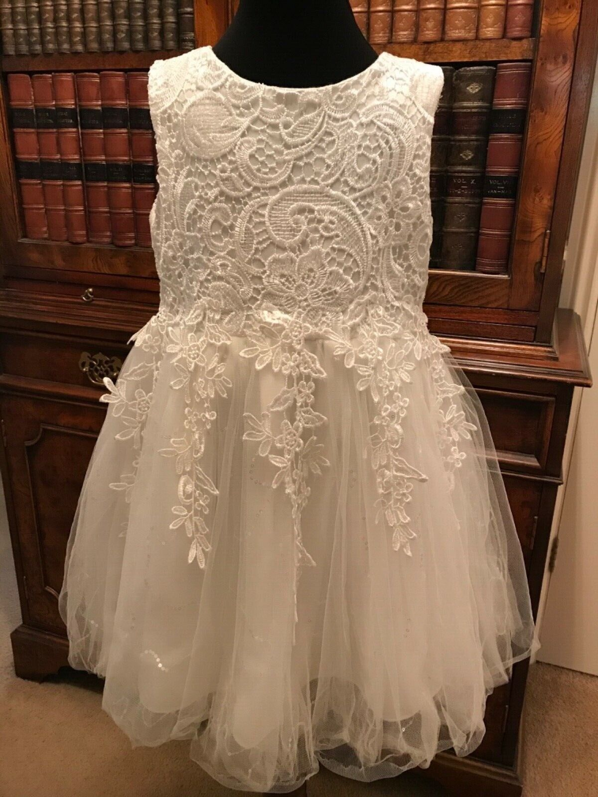 Beautiful Girls' Cream Satin, Tulle, Sparkle & Lace Bridesmaid Dress - 4-5 Years