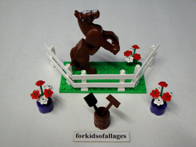 Lego Brown Horse w/Movable Legs Friends Pony Animal Figure w/Plate Fence Flowers