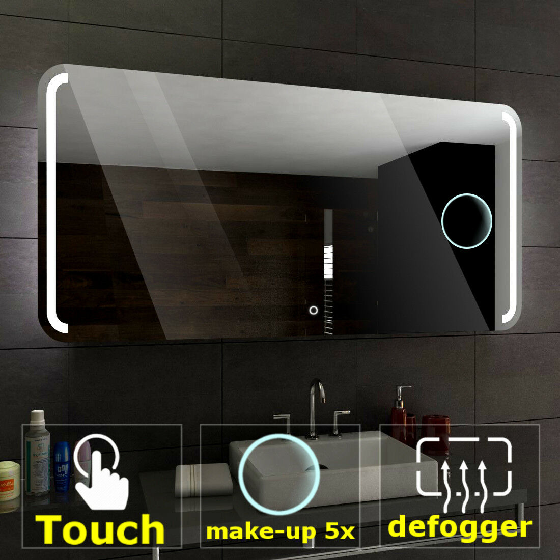 Oslo éclairé del Miroir salle de bain LED interrupteurs maquillage anti buée