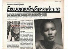 GRACE JONES ARTICLE / clipping  from Hitkrant magazine in Dutch language