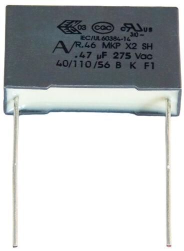 10 Kondensator MKP X2 220-230V 0,47µF 0.47µF 470nF 474K 474 K 275Vac 22,5mm uF
