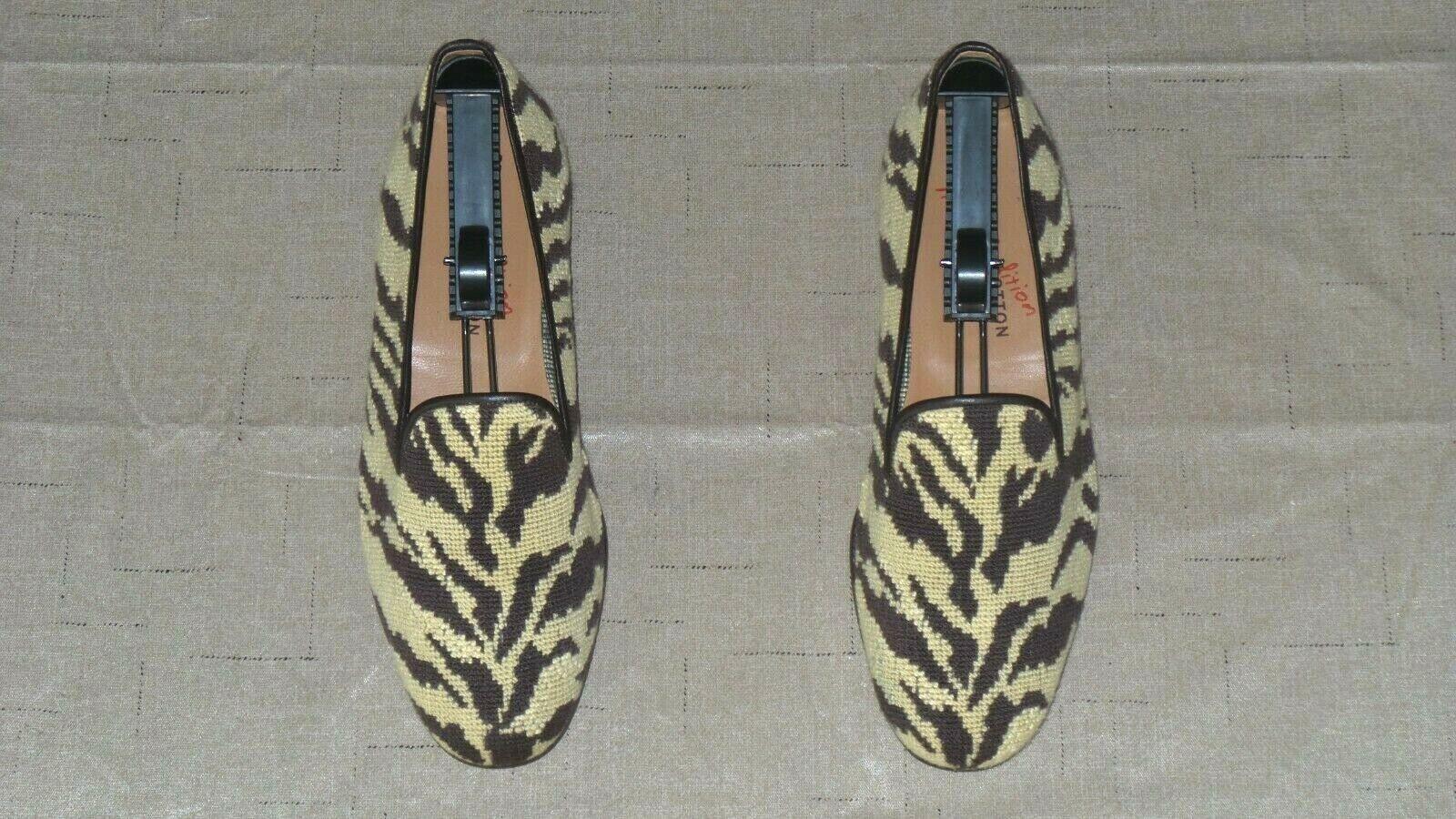 RARE  Mens  495 Stubbs & Wootton Needlepoint  ZEBRA PRINT  Loafers Slippers scarpe