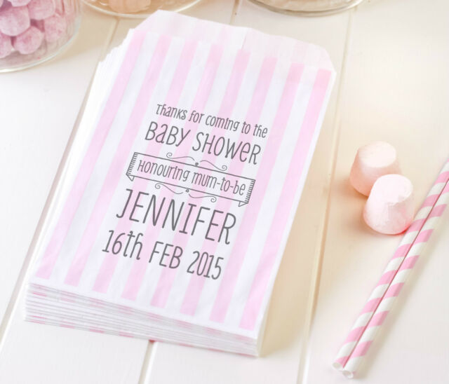 50 Light Pink Personalised Baby Shower Paper Sweet Bags Treats Favour Candy