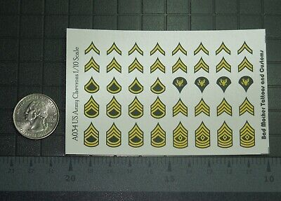 Waterslide Decals 1//18 Scale Decals US Army Rank Chevrons