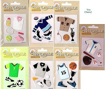 "/""Handmade/"" brand Scrapbooking Stickers Sports /""Tennis Basketball Hocky Baseball/"""