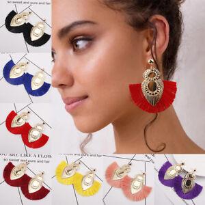 Fashion-Women-Bohemian-Earrings-Long-Tassel-Fringe-Drop-Dangle-Ear-Stud-Jewelry