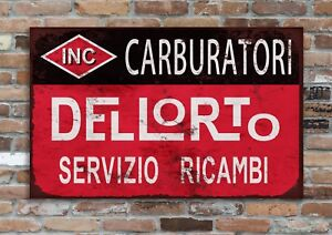 "Dellorto Carburettas 10x8"" Retro Vintage Metal Advertising Sign Wall Art Pic"