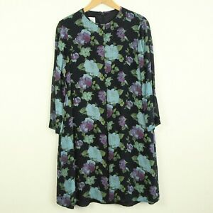 Vintage-90s-Evan-Picone-Silk-Long-Sleeve-A-Line-Shift-Dress-Black-Floral-6-S