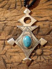Niger Tuareg cross hand engraved pendant + turquoise stone + agate beads