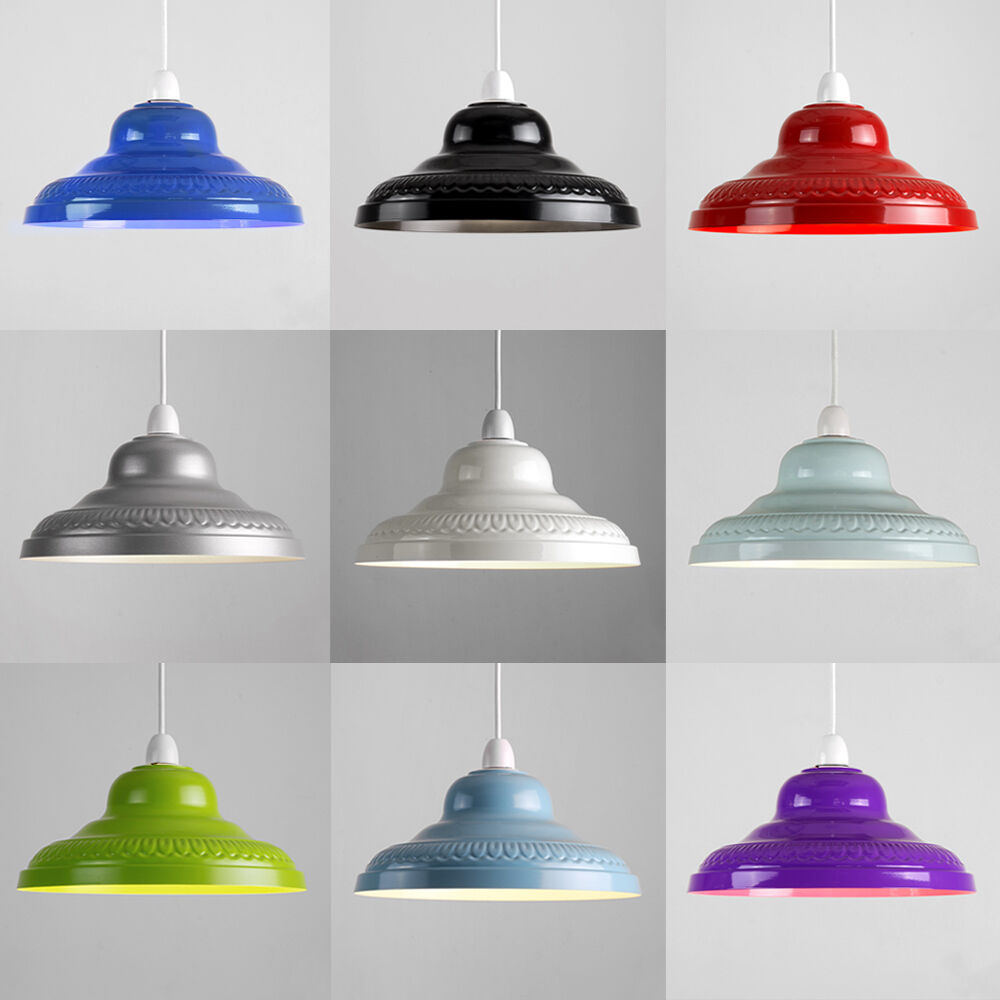 Cleveland Vintage Lighting Clip On Lampshade: Vintage Retro Embossed Metal Ceiling Pendant Light Lamp