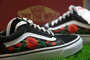 044da23cc22f Made To Order Custom Vans Old Skool Black White Rose Embroidered ...