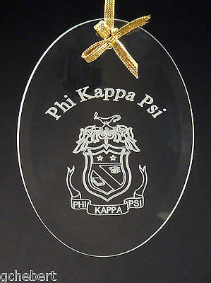 Phi Kappa Psi, ΦΚΨ, Ornament/Sun Catcher Name & Crest Beveled Crystal Oval