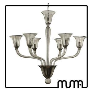 Lampara-de-arana-6-luces-Vidrio-Murano-Gris-Murano-handmade-modern
