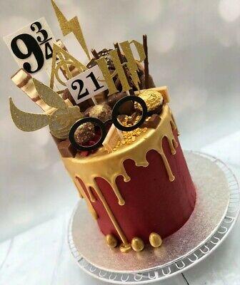 Marvelous Harry Inspired Cake Topper Toppers Glitter Birthday Wizard Deathly Funny Birthday Cards Online Elaedamsfinfo