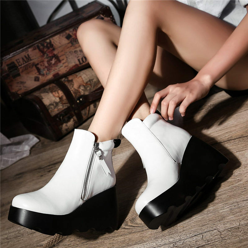 Women Platform Wedge High Heel Genuine Leather Ankle Boots Zip Tassel Creepers