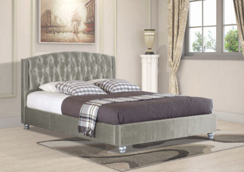 Double /& King Size Velvet Fabric Bed Frame with Upholstered Headboard in Single
