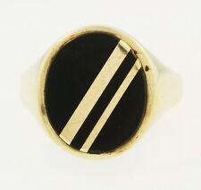 9Carat Yellow Gold Onyx Signet Ring (Size Q) 15x18mm Head