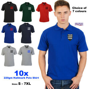 Details about 10x Personalised Embroidered Polo Shirt 220gm Custom Work  FREE TEXT & LOGO