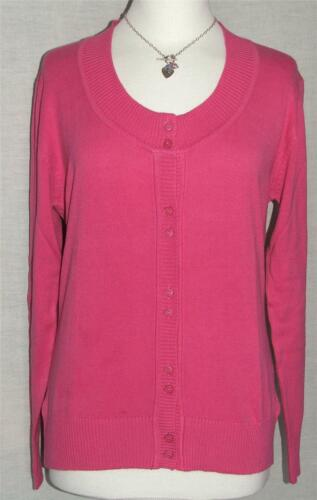 JS NEW LONG SLEEVE SOFT-FEEL PINK COTTON KNIT BUTTON CARDIGAN SIZES 8 to 20
