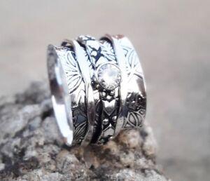 Crystal-Solid-925-Sterling-Silver-Spinner-Ring-Meditation-statement-Ring-ee05