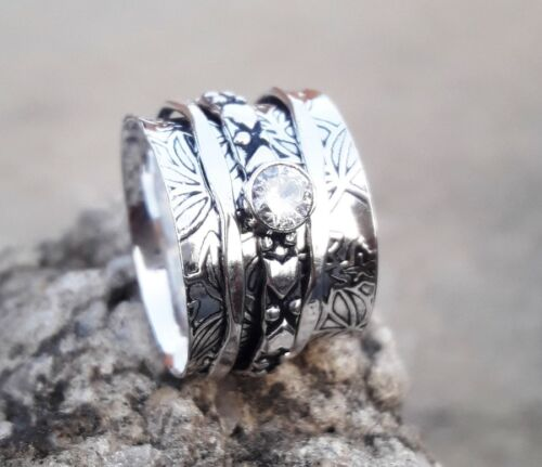 Crystal solid 925 Sterling Argent Spinner Ring méditation Statement Ring ee05