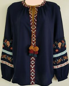 SZS-16-24-NEW-George-Navy-Embroidered-Floral-Top-Blouse