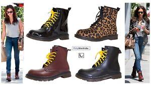Ankle-Vintage-Boots-PU-Leather-Combat-Punk-Biker-Lace-Up-Leopard-UK-Shoes-Womens