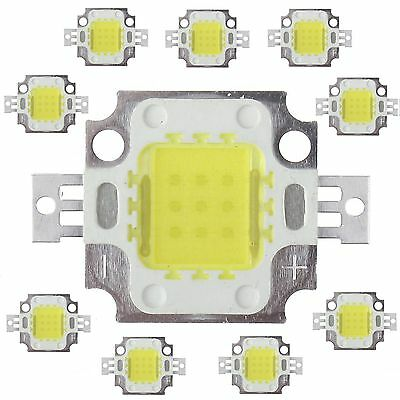 10pcs 10W Cool White High Power 800-900LM LED light Lamp SMD Chip DC 9.6-10.2V