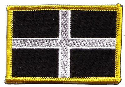 Great Britain St. Piran Cornwall Flag EMBROIDERED PATCH 8x6cm Badge