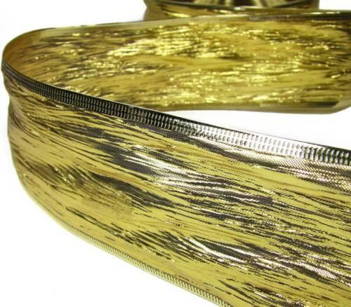 "5 Yd Christmas Elegant Shiny Gold Wrinkle Wired Ribbon 2 1//2/""W"