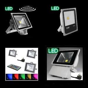V-LED-Flutlichtstrahler-Fluter-10-20-50-100W-Bewegungsmelder-RGB-Gartenstrahler