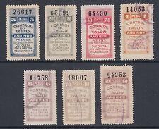 Argentina, Santa Fé, Forbin 290A/313A used 1909 General Tax Fiscals Talon halves