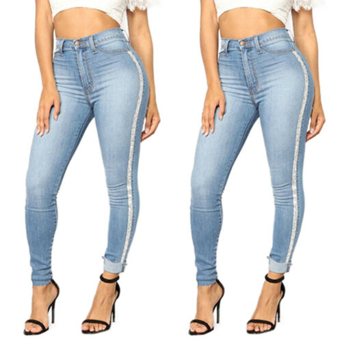 Women High Waist Skinny Fit Long Jeans Jeggings Casual Stretchy Denim Trousers