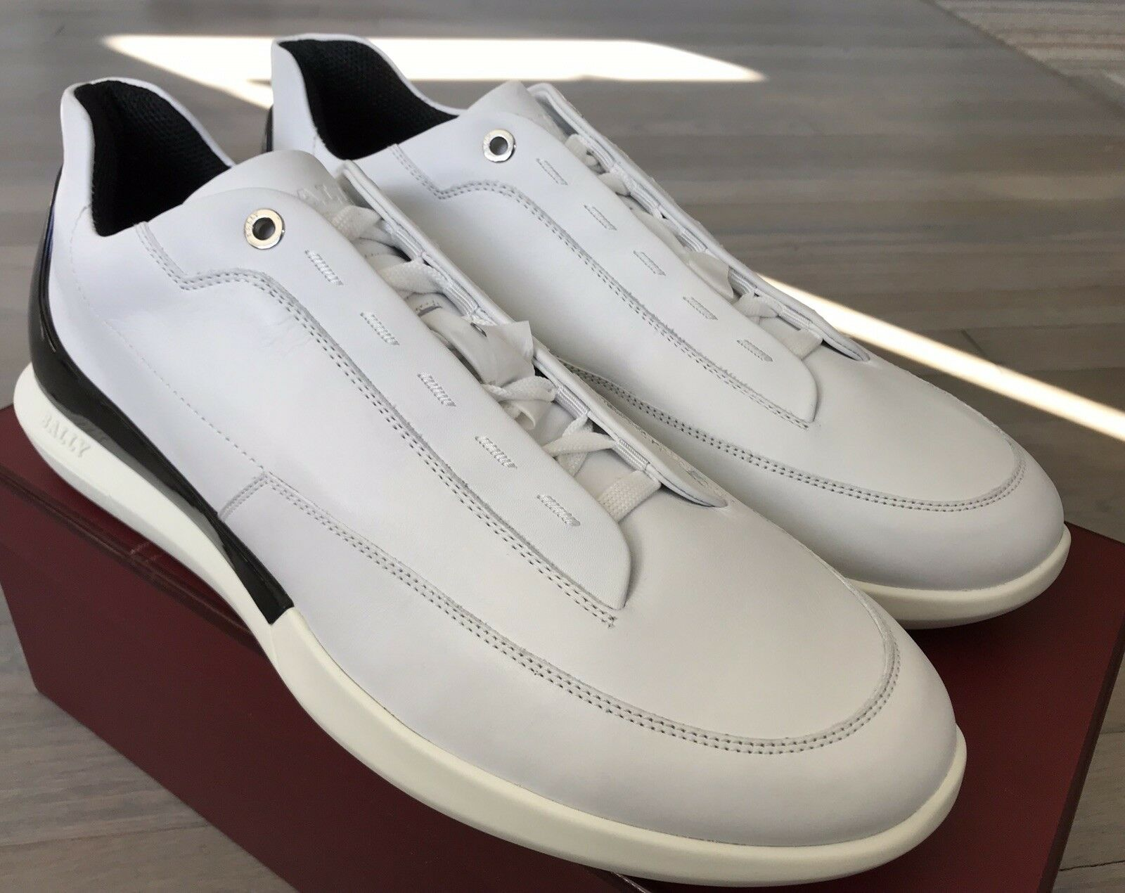 600  Bally Avier White Leather Sneakers size US 9 Made in