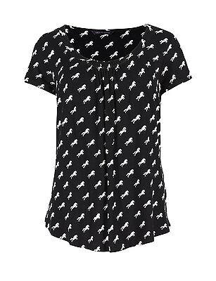 Marks /& Spencer Womens Black Horse Print Top New M/&S Short Sleeve T-Shirt Tee