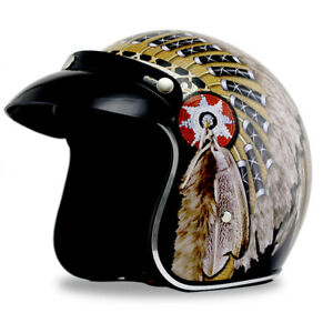 DOT Open Face Motorcycle Helmet Indian Feather Print Cruiser Scooter Street Bike