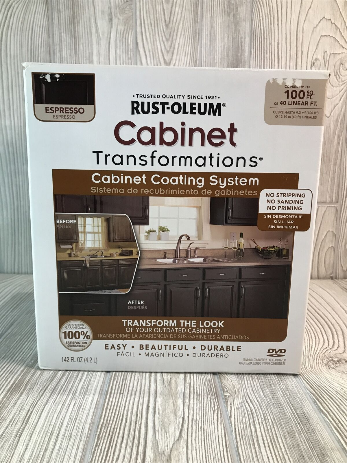 Rust Oleum 263232 Cabinet Transformations 100 Sq Ft Coating Kit Pure White For Sale Online Ebay