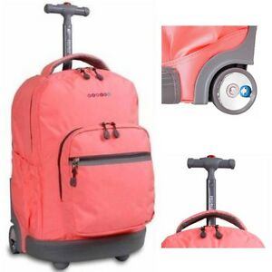 Pink Wheeled Backpack Girls School Book-Bag Womens Rolling Tote ...