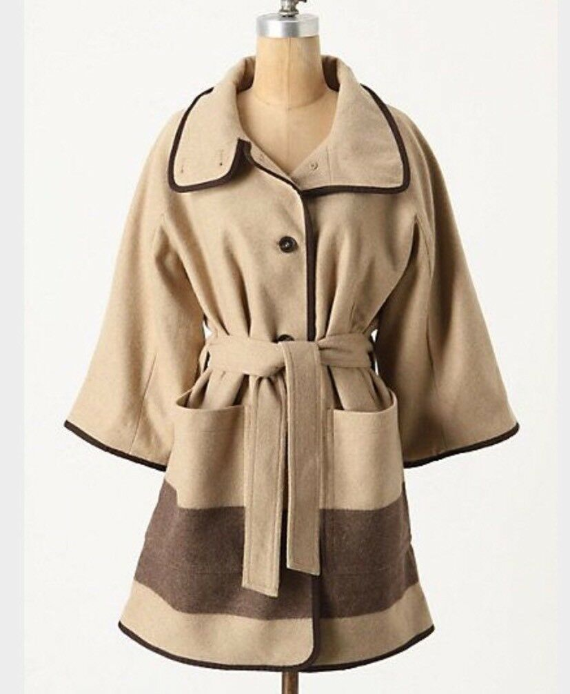 NEW Anthropologie Woolrich Dripped Nougat Coat S