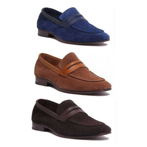 959d8a28e56e Justin Reece Mens Slip on Bar Perforated Real Suede Soft Loafer Size ...