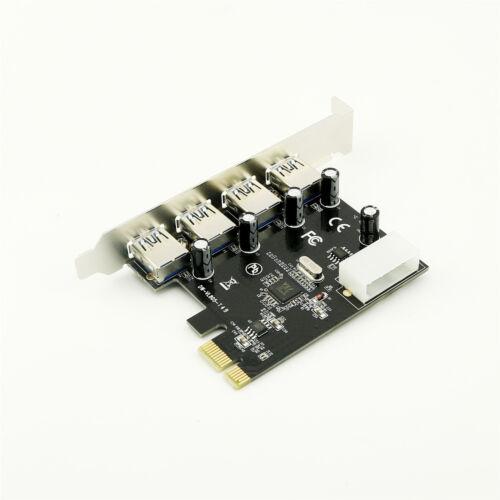 High Speed 4 Port USB 3.0 PCI Express Controller Card Adapter Molex 4pin Power