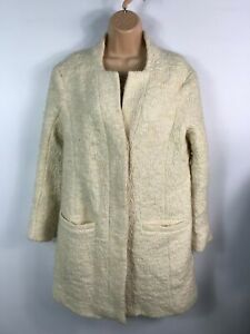 WOMENS-ZARA-BASIC-CREAM-BUTTON-UP-COLLARLESS-SMART-OVERCOAT-JACKET-SIZE-LARGE-L