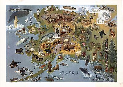 1949 PICTORIAL map Alaska Shows towns wildlife landmarks Eskimos POSTER 8047
